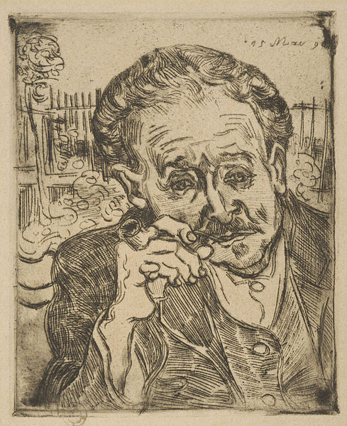 van Gogh: Ritratto del  Dr. Paul Gachet, 1890, Museo d'arte di Filadelfia, USA