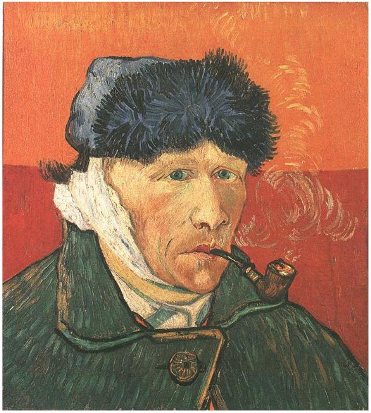 van Gogh:  Autoritratto con orecchio bendato e pipa, 1889, Courtauld Gallery, Covent Garden, Londra, Gran Bretagna