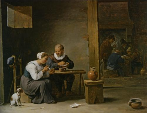 David Tenier the Younger: A man and a woman with a pipe, private collection