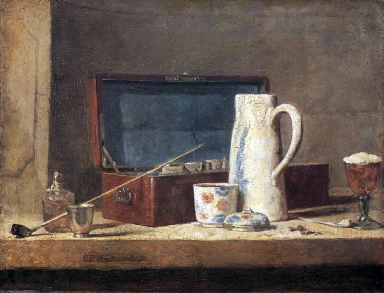 Jean Siméon Chardin: « Pipe e brocca bianca, Louvre 1737