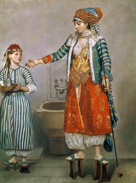 """Jean Etienne Liotard """"Dama con Ancella"""" – 1750, Nuseo d'arte e stori, Ginevra, Svizzera"""